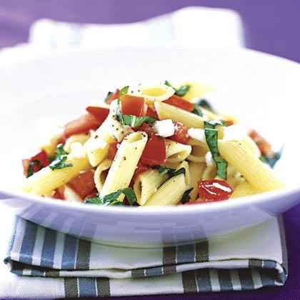 Pasta with Basil, Tomatoes, and Feta