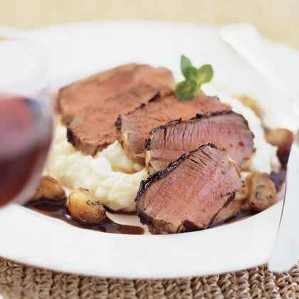 Grilled Lamb Loin with Cabernet-Mint Sauce and Garlic Mashed Potatoes