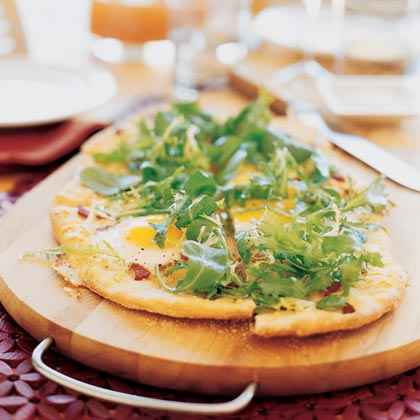 Brunch Flatbread with Eggs, Bacon, and Frisée