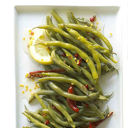 Spicy, Crunchy Pickled Green Beans with Lemon