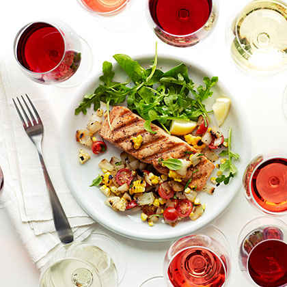 Wild Salmon with Grilled Sweet Onion and Corn Relish