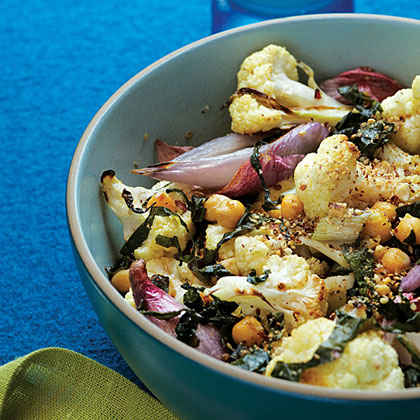 Roasted Cauliflower and Shallots with Chard and Dukkah