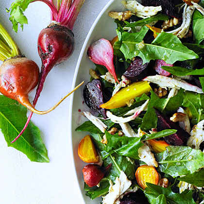 Chicken Salad with Roasted Beets and Dandelion Greens