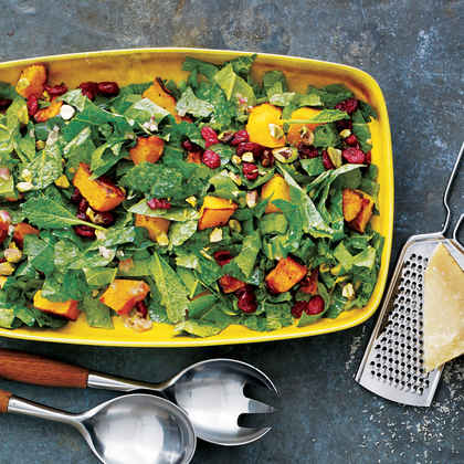 Kale Salad with Roasted Squash, Dried Cranberries and Pistachios