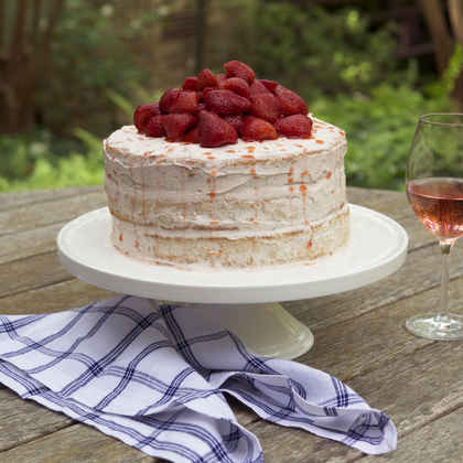 Strawberries and Rosé Cake