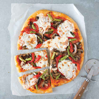 Mushroom, Asparagus, and Roasted Red Pepper Pizza