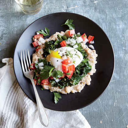 Peppered White Bean, Kale, and Egg Stack