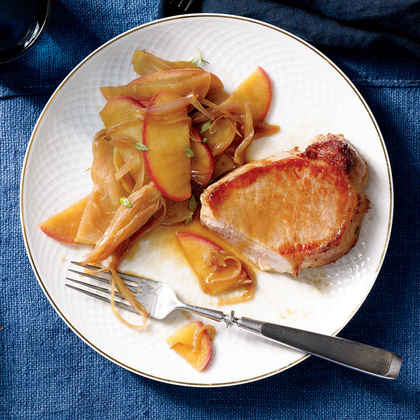 Pork Loin Chops with Apple and Shallot