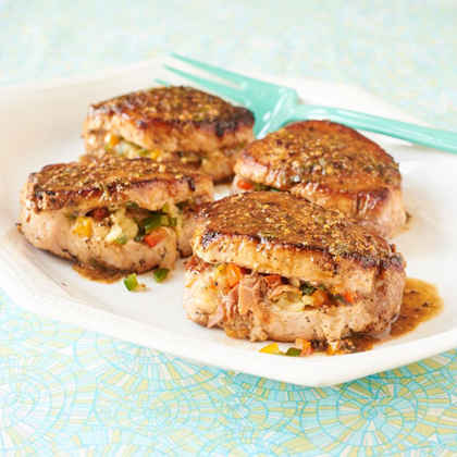 Prosciutto, Provolone & Pepper Stuffed Pork Chops