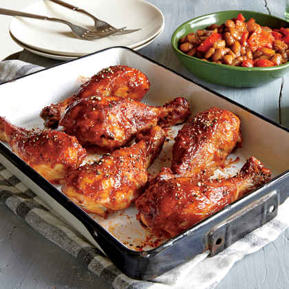 Roasted BBQ Drumsticks with Cowboy Beans