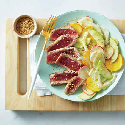 Seared Tuna with Shaved Vegetable Salad