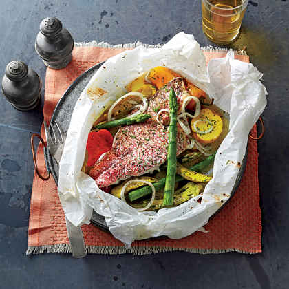 Snapper Baked in Parchment with Spring Vegetables