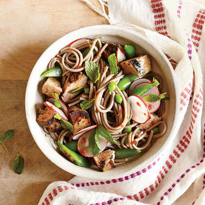 Soba Noodle Salad with Pork, Snap Peas, and Radishes