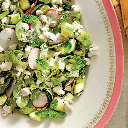 Spinach-and-Romaine Salad with Cucumbers, Radishes, and Creamy Mint Dressing (Janie's Spinach Salad)