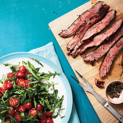 Flank Steak with Arugula and Herbed Tomato Salad
