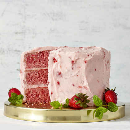 Strawberry Cake with Strawberry Buttercream Frosting