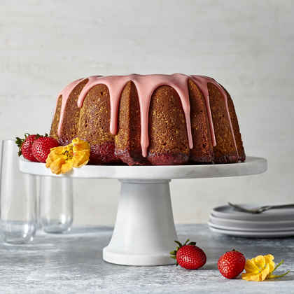 Strawberry Poke Pound Cake with Strawberry Glaze