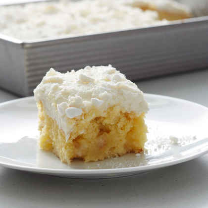 Vanilla Buttermint Poke Cake with Buttercream Frosting