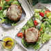 Cheesy Beef Patties with Tomato-Cucumber Salad Recipe