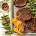 Chile-Rubbed Chops with Sweet Potatoes and Grilled Okra Recipe