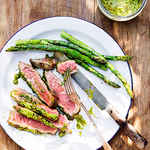Rib-Eye Steaks with Pistachio Butter and Asparagus