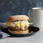 <p>Sausage, Gravy, and Egg Breakfast Sandwiches</p>