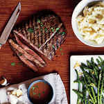 <p>Pan-Grilled Flank Steak with Soy-Mustard Sauce</p>