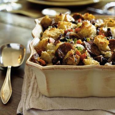 Herbed Bread Stuffing with Mushrooms and Sausage