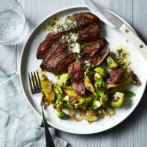 How To Make Pan Seared Hanger Steak With Brussels Sprouts Potatoes And Lemon Herb Butter