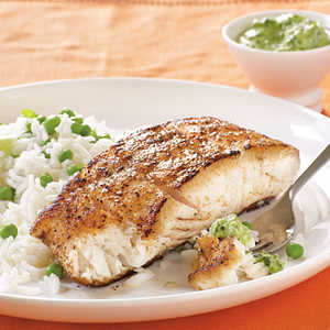 Halibut with Spicy Mint-Cilantro Chutney Menu