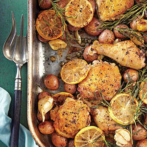 Lemon-Rosemary-Garlic Chicken and Potatoes Recipe | MyRecipes.com