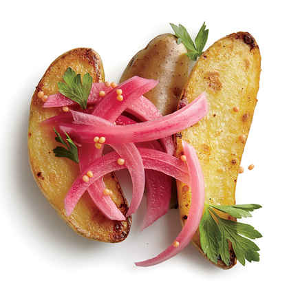 Pan-Seared Potatoes with Quick Pickled Red Onions