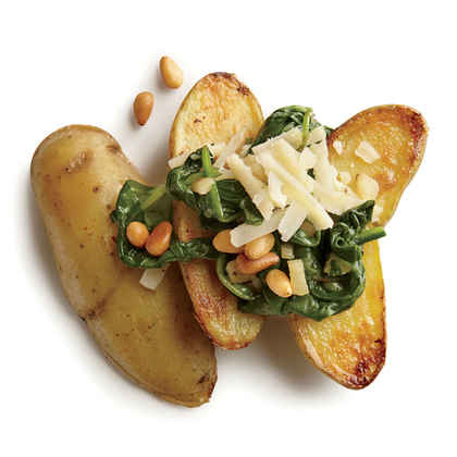 Pan-Seared Potatoes with Spinach and Garlic
