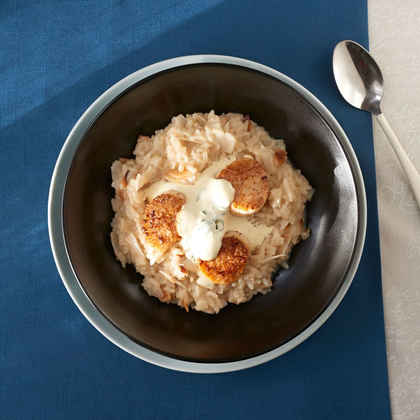 Coconut Risotto with Scallops and Basil Ice Cream