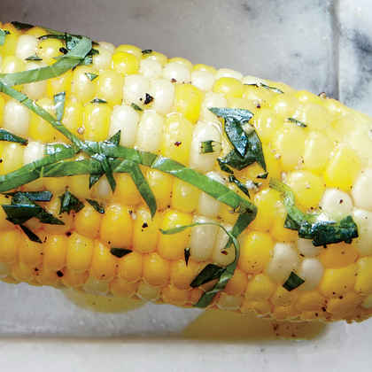 Corn on the Cob with Orange, Tarragon, and Basil Butter