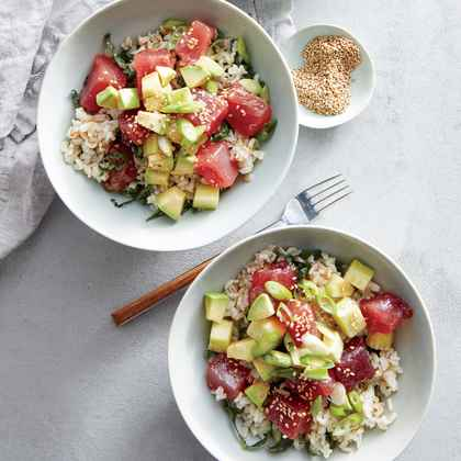 Tuna Poke Bowls with Brown Rice and Kale