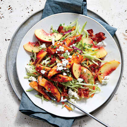BBQ Chicken with Peach and Feta Slaw