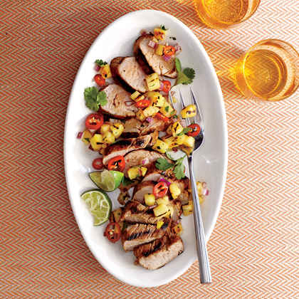 Caribbean Grilled Pork Tenderloin with Grilled Pineapple Salsa