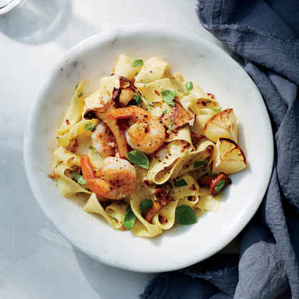 Charred Lemon Pappardelle with Mushrooms and Shrimp