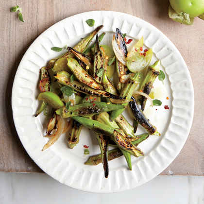 Charred Okra with Tomatillos