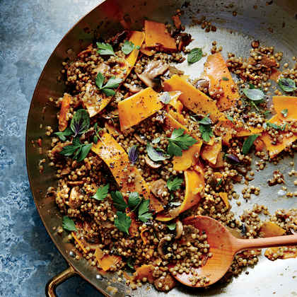 Cheesy Sorghum and Shaved Squash Pilaf