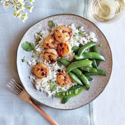 Chili-Garlic Shrimp with Coconut Rice and Snap Peas