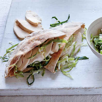 Greek Slaw and Chicken Pitas