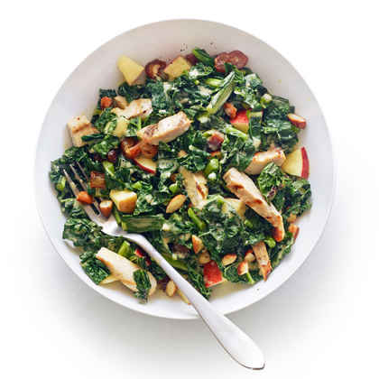 Grilled Chicken and Kale Salad with Tahini Lemon Dressing