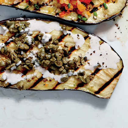 Grilled Eggplant Planks with Creamy Lemon-Garlic Dressing