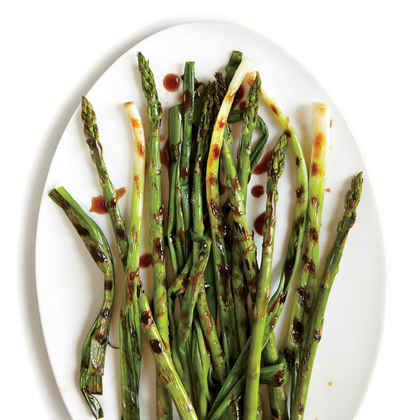 Grilled Green Onions with Spicy Asparagus and Hoisin