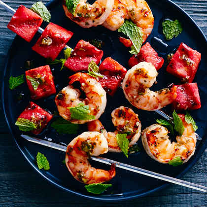 Grilled Watermelon and Shrimp Skewers