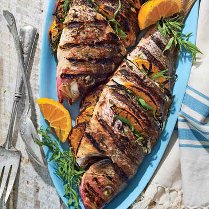 Grilled Whole Snapper with Tarragon and Tangerines