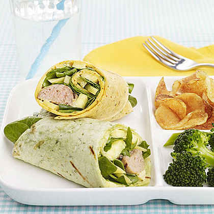 Turkey Sausage and Mango Wraps