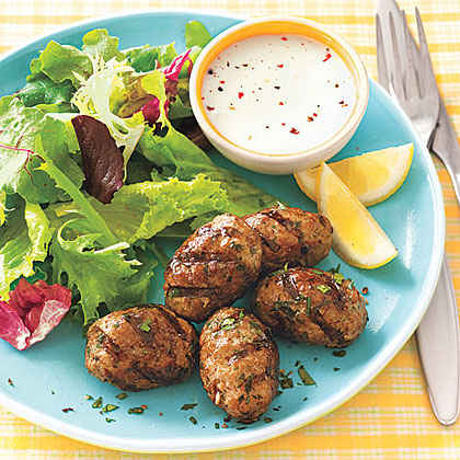 Grilled Spiced Pork Patties with Greens